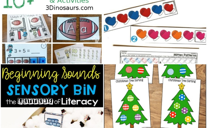 12.29 Printables: Christmas Ornament Sorting, Winter Beginning Sounds, Winter Mittens Color, Football Theme