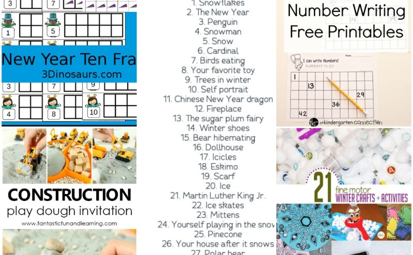 12.31 Number Ten Frame, Number Writing, Fine Motor Winter Crafts, Play Dough Construction, DrawingChallenge