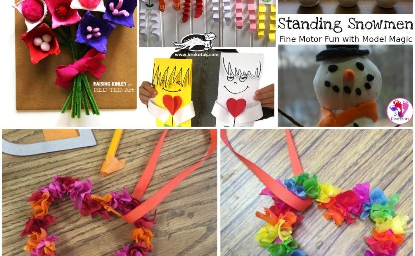 01.14 Crafts: Egg Carton Flowers, Valentine Man, Tissue Hearts, StandingSnowman