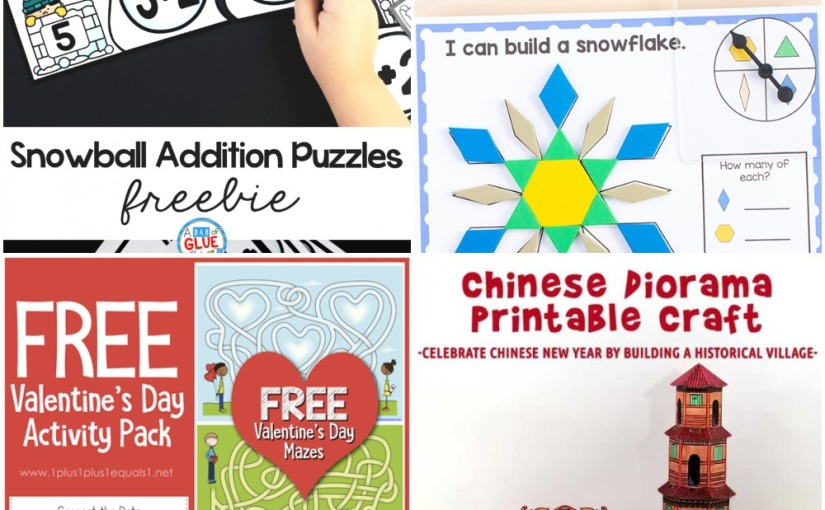 01.14 Printables: Valentine's Day Activity, Winter Pattern Block, Snowball Addition Puzzles, ChineseDiorama