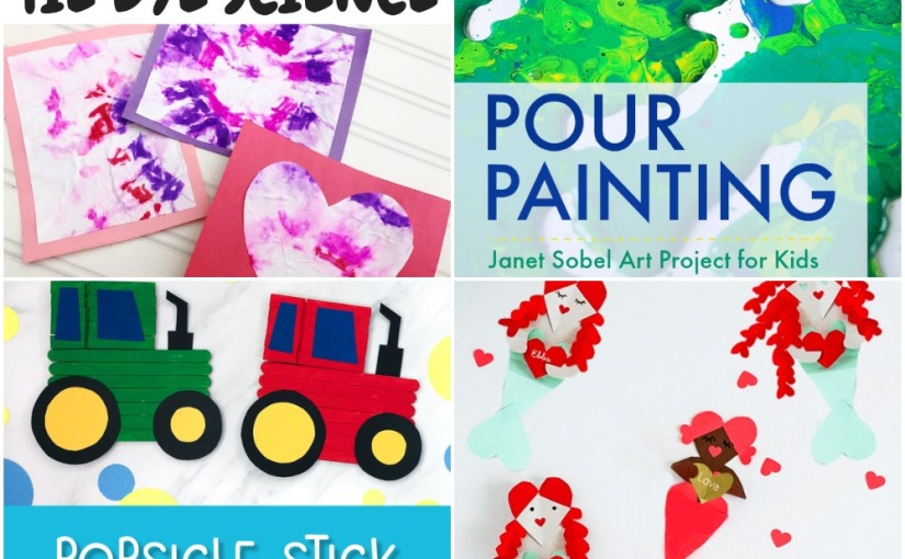 01.30 Crafts: Pour Painting, Tie Dye Valentine Cards, Tractor Popsicle Stick, Heart Mermaid
