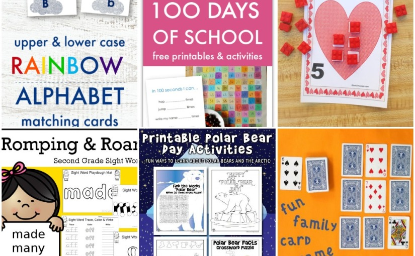 01.30 Printables: Rainbow Alphabet, Lego Valentine Counting, Romping and Roaring, Polar Bear Activities, CardGame