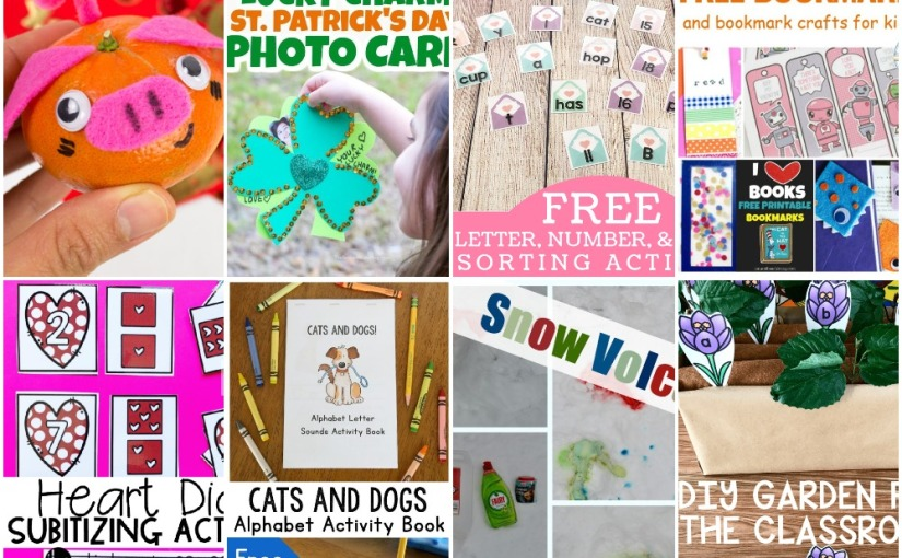02.03 Orange Pig, Bookmarks, Valentine Sorting and Counting, Cat and Dogs Letter Sounds, DIY Garden, SnowVolcano