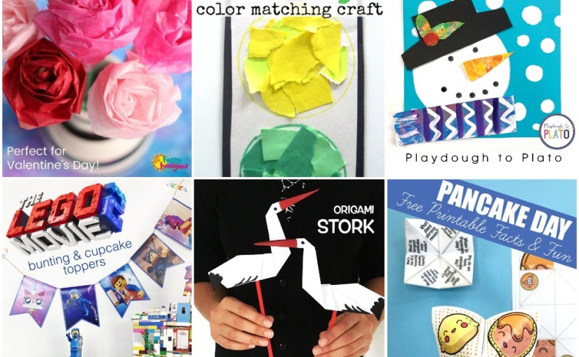 02.04 Crafts: Tissue Paper Rose, Snowman, Origami Stork, Pancake Fortune Teller, Lego Movie 2 Bunting