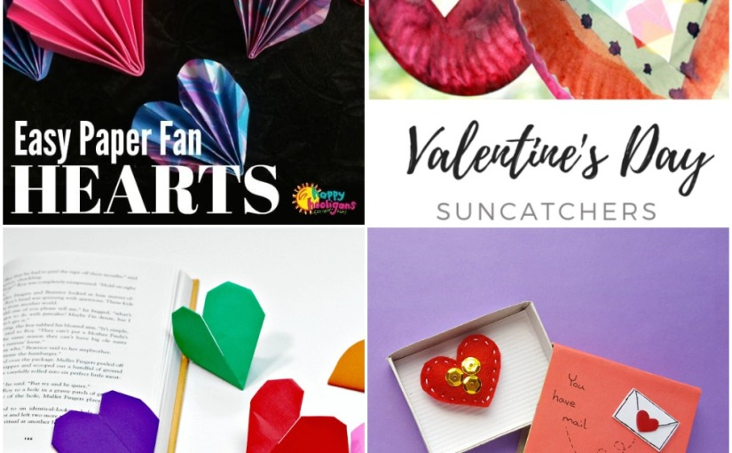 02.05 Valentine's Crafts: Folded Paper Heart, Suncatcher, Heart Origami Bookmark,Matchbox