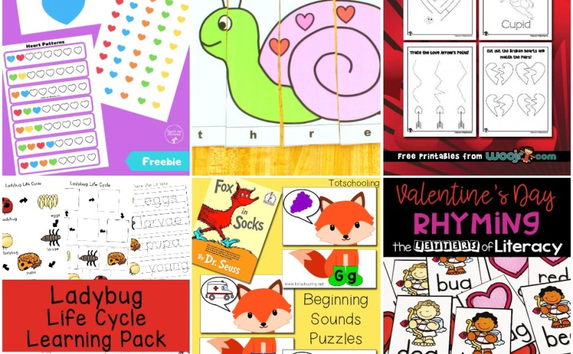 02.05 Printables: Heart Color, Valentine's Fine Motor, Fox in Socks Alphabet, Number Word Puzzle, Ladybug Life Cycle
