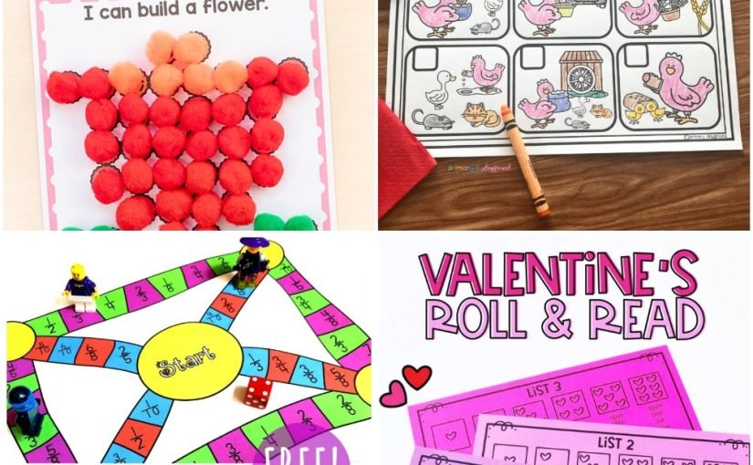 02.06 Printables: Spring Pom Pom Mats, The Little Red Hen, Valentine's Roll and Read, Fractions ConvertingGame