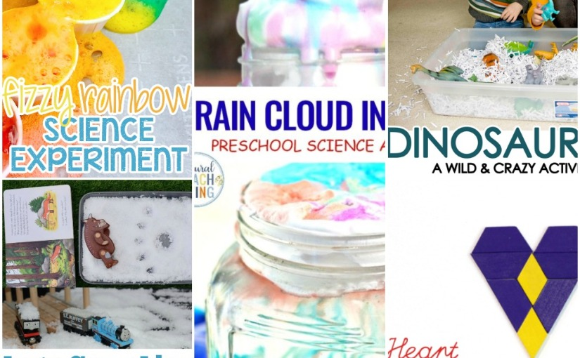 02.06 Geometric Heart, Dinosaur Sensory Bin, Fake Snow Play, Rainbow Science Experiment, Rain Cloud in aJar