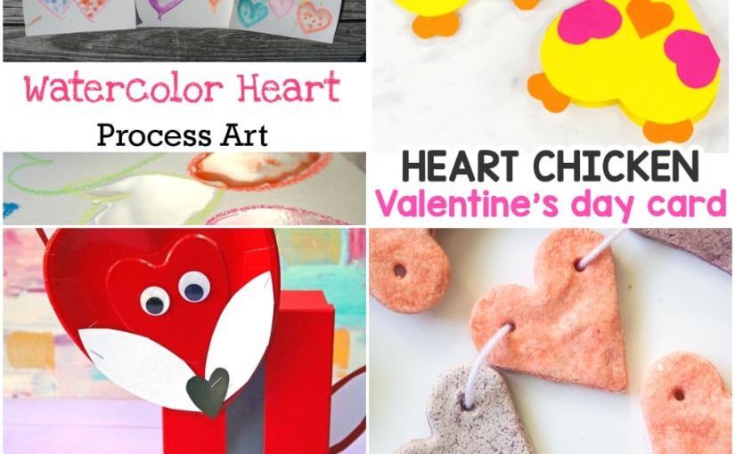 02.07 Valentine's Crafts: Watercolor Hearts, Heart Chicken, Colored Salt DoughHearts