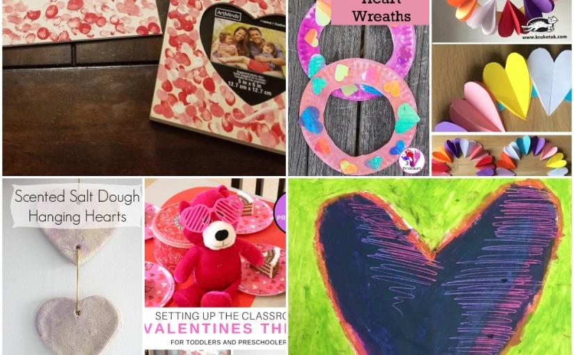 02.08 Valentine Crafts: Fingerprint, Easy Heart Art, Salt Dough Hearts, Color Blending Heart, HeartWreath
