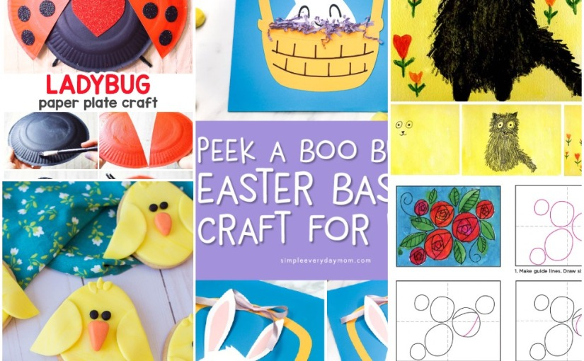 02.08 Crafts: Paper Plate Ladybug, Easter Basket, Easter Chick Sugar Cookies, Art Project, Doodle Roses Drawing