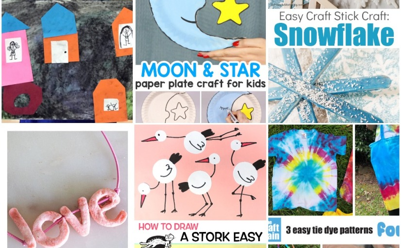02.11 Crafts: City Collages, Paper Plate Moon, Snowflakes, Salt Dough Letter, Stork Drawing, Easy Tie Dye