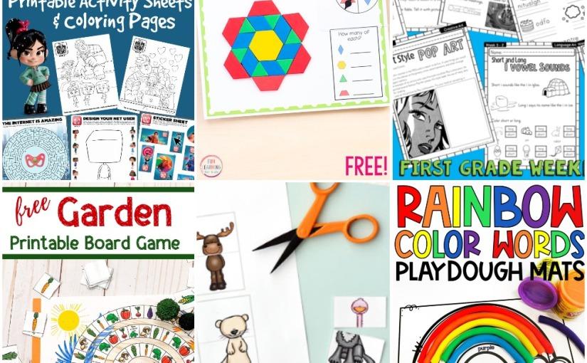 02.13 Printables: Ralph Coloring, Garden Board Game, Busy Box, Spring Block Mats, Rainbow Words, 1st GradeWeek