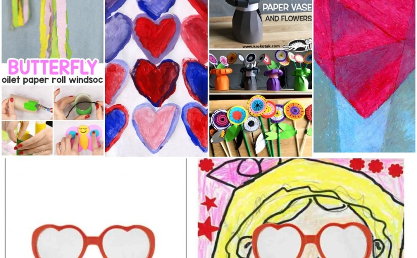 02.14 Printables: Butterfly Windsock, Paper Vase and Flowers, Valentine Cubism, Color Mixing Hearts