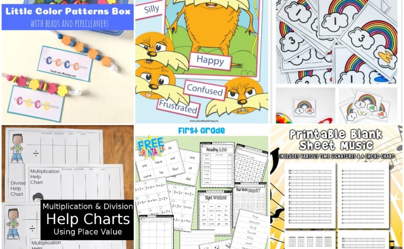 02.14 Printables: Color Patterns, Lorax Emotions, Rainbow Math, Multiplication and Division, MusicSheet