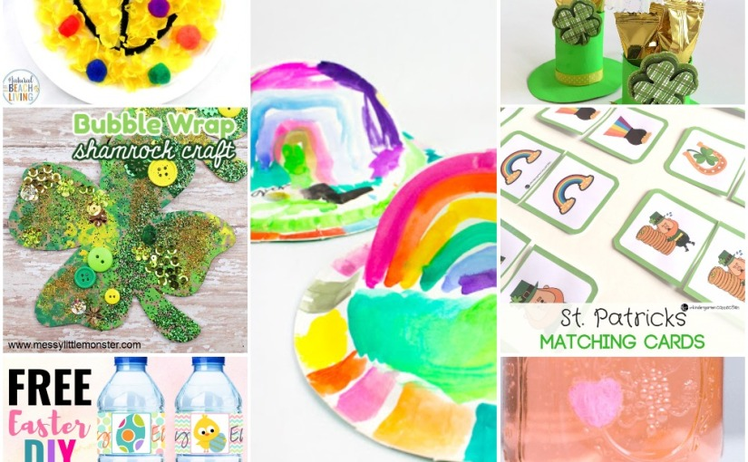02.16 Paper Plate Rainbows, Leprechaun Hats, Shamrock, Easter Water Bottle Labels,  St.Patrick's Matching Game
