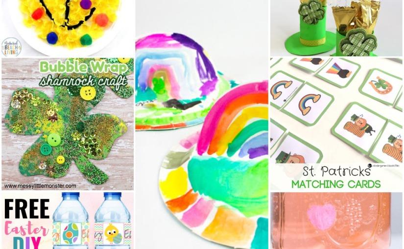 02.16 Paper Plate Rainbows, Leprechaun Hats, Shamrock, Easter Water Bottle Labels,  St.Patrick's MatchingGame