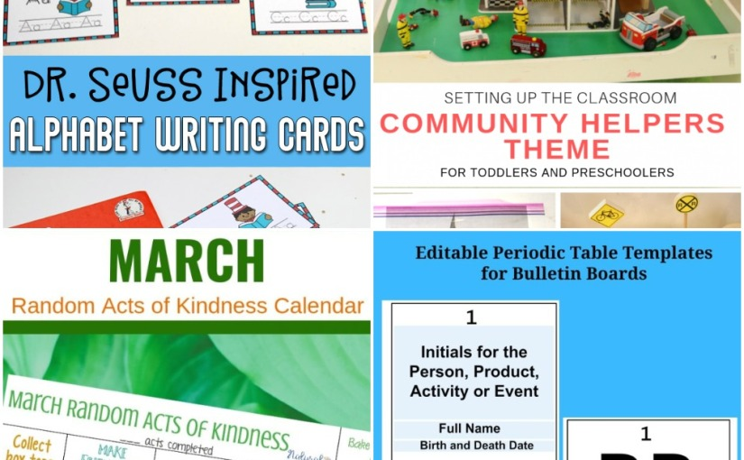 02.23 Dr. Seuss Alphabet Writing, Editable Periodic Table Templates, Acts of Kindness, Community HelpersTheme