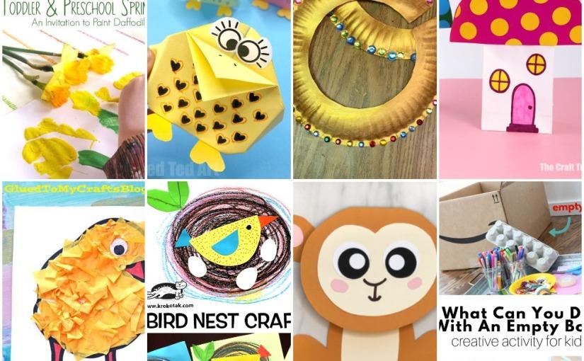 02.25 Crafts: Painting Daffodils, Origami Bird, Fairy Houses, Egyptian Collars, BirdNest
