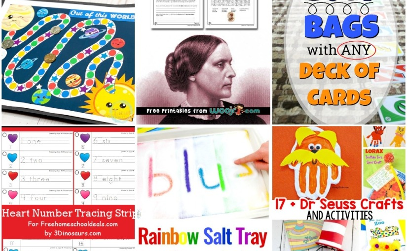02.26 Solar System Board Game, Heart Number Tracing, Busy Bags with Cards, Rainbow Writing, Dr. SeussCrafts
