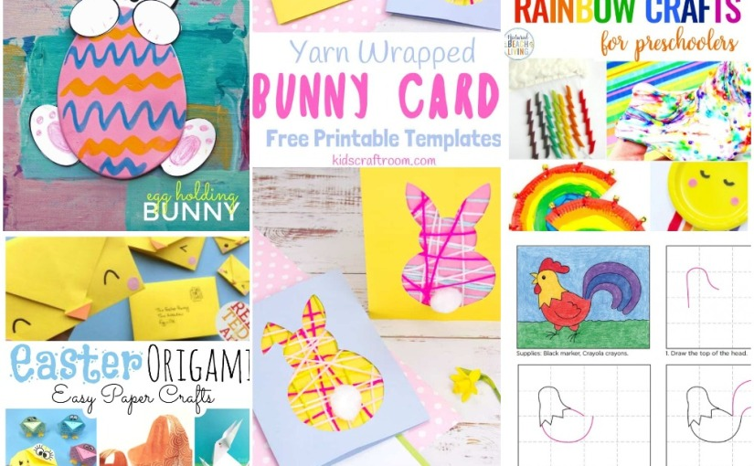 02.27 Crafts: Yarn Wrapped Bunny, Rooster Drawing, Easter Origami, List of Rainbows