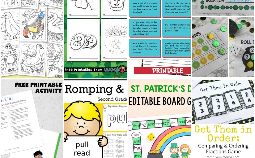 02.27 Printables: Birds Coloring, Gold Coin, St.Patrick's Connect Dots and Board Game, Writing Prompts, FractionsGame
