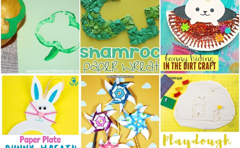 02.28 Crafts: St. Patrick's Shamrock Printing and Wreath, Paper Plate Easter Bunny, Paper Pinwheels, LEGO Art