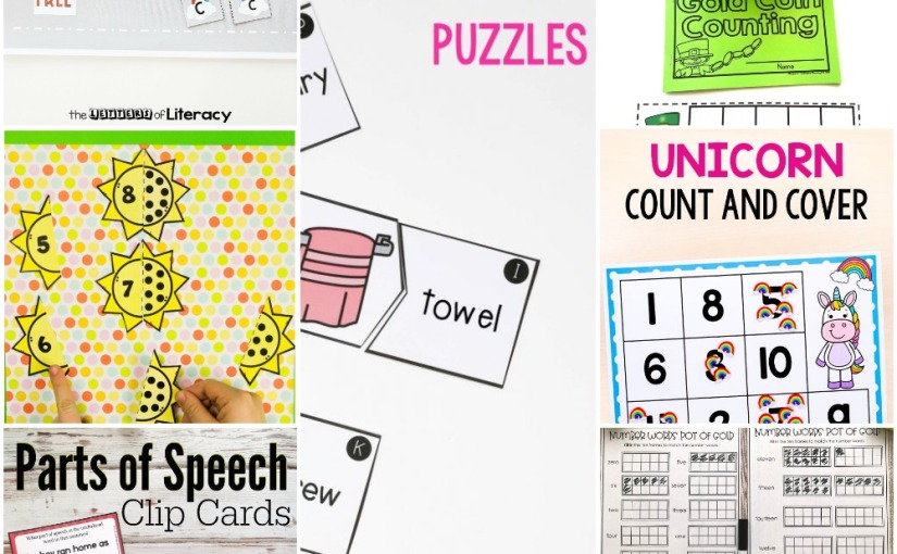 02.28 Printables: Rainbow Alphabet, Parts of Speech, Diphthong Puzzles, Unicorn Counting, Leprechaun CoinCounting