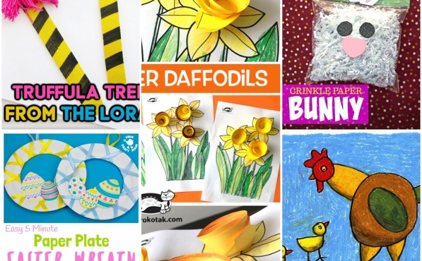 03.01 Crafts: The Lorax Tree, Easter Wreath, Chicken Drawing, PaperDaffodils