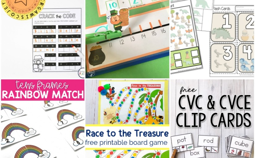 03.01 Printables: Crack The Code, Rainbow and Leprechaun Teen Numbers, Pirate Board Game, CVC and CVCE Words