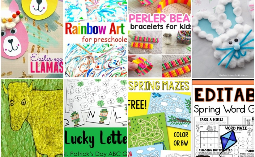 03.03 Rainbow Art, Bunny, Bracelets, Cow Drawing, Spring Mazes, Lucky Letters, Spring Word Game