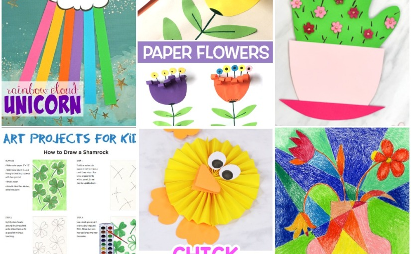 03.05 Crafts: Paper Rosette Chick, Hanprint Cactus, Paper Flowers, Shamrock Drawing