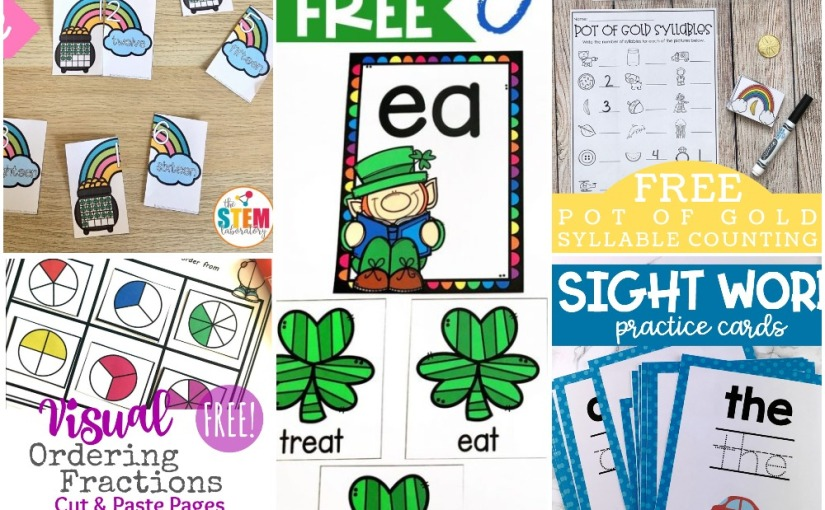 03.06 Printables: Ten Number Rainbow, St. Patrick's Sorting and Counting, Ordering Fractions, Sight WordCards