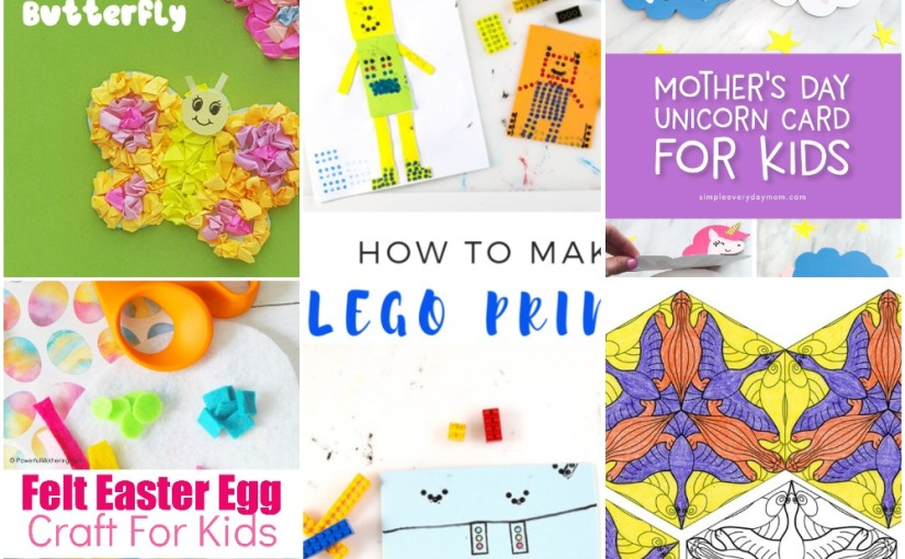 03.07 Crafts: Lego Prints Painting, Felt Easter Egg, Paper Butterfly, Unicorn Card, Tessellation Art