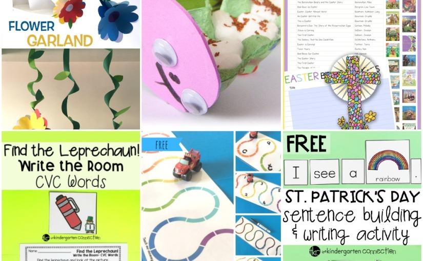 03.08 Flower Garland, Caterpillars to Grow, Rainbow Roads, Easter Books, St.Patrick's Writing and CVCWords
