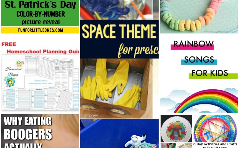03.09 St.Patrick's Color-by-Number, Homeschool Planner, Rainbow Songs, Space Theme, Pi DayActivities