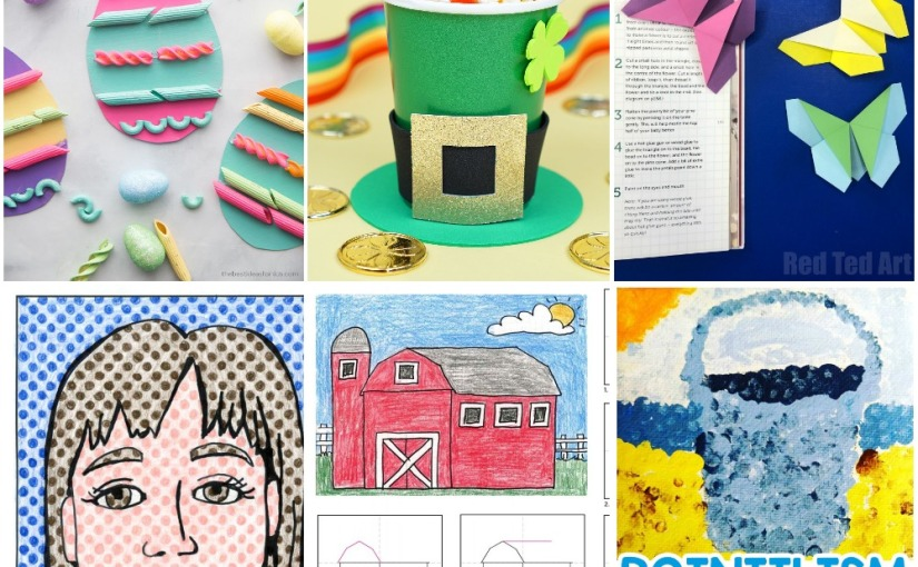 03.10 Crafts: Pasta Easter Eggs, Origami Butterfly, Leprechaun Hat, Portraits Style, Draw a Barn, Pointillism Art