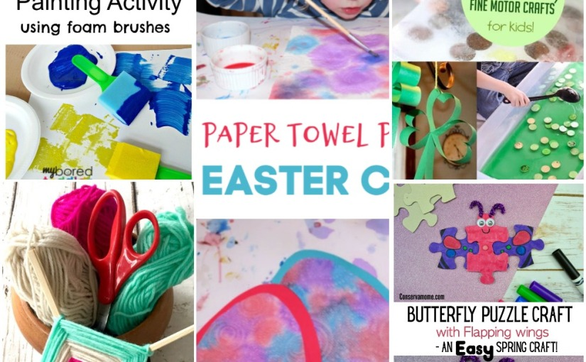 03.11 Crafts: Painting with Foam Brushes, Paper Towel Easter Egg, God's Eye, Butterfly Puzzle, St.Patrick's Fine Motor