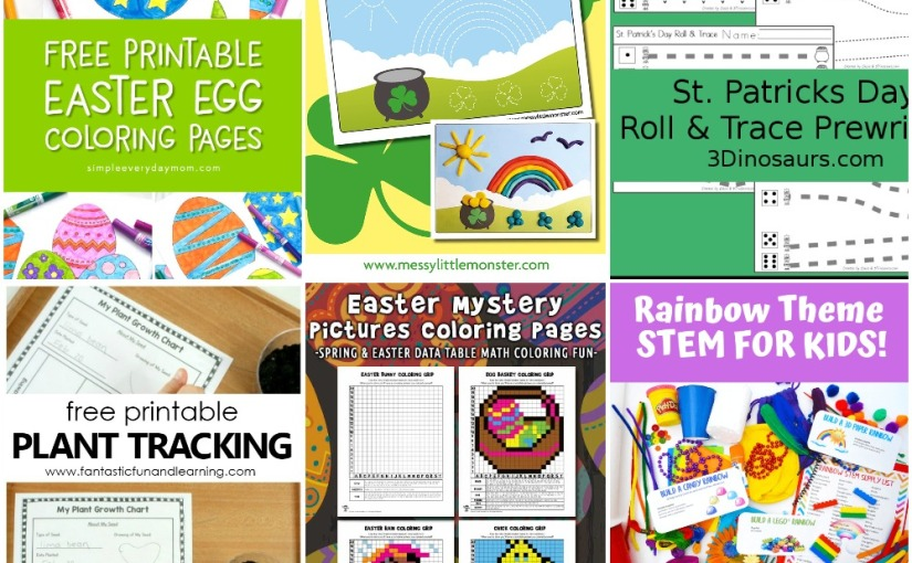 03.11 Printables: Easter Egg and Mystery Coloring, St.Patrick's Prewriting, Plant Tracking, Rainbow Stem Challenges