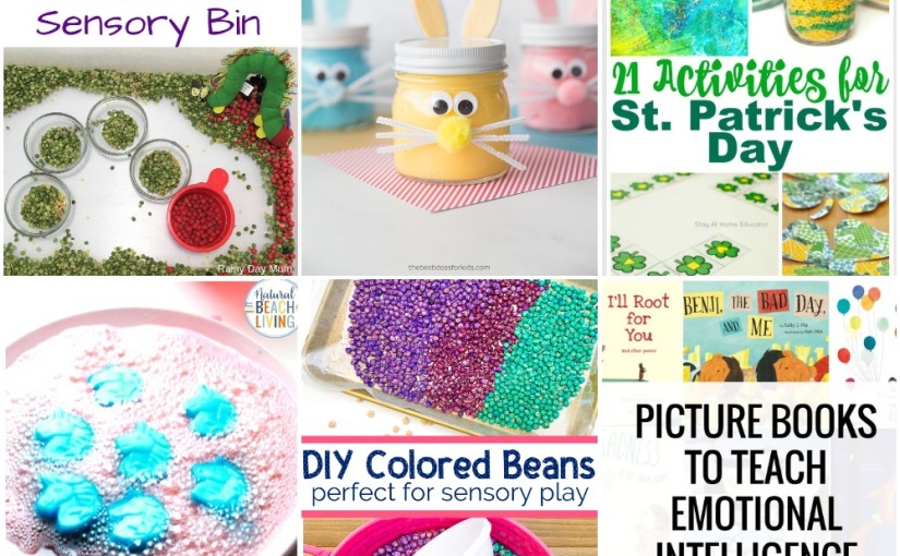 03.11 Bunny Slime, DIY Colored Beans, Caterpillar Sensory Bin, Unicorn Science, St.Patrick's Activities,