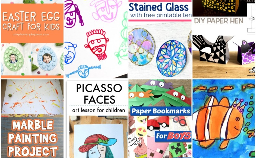 03.12 Crafts: Marble Painting, Easter Eggs, Paper Hen, Corner Bookmarks for Boys, Clownfish Drawing, Picasso Art Lesson