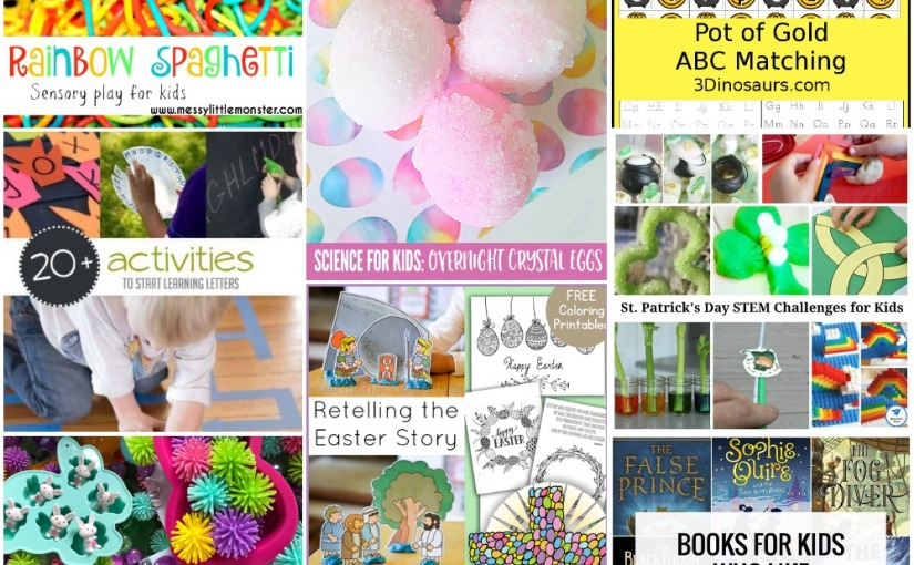 03.12 Easter Printables, Pot of Gold ABC Matching, Rainbow Spaghetti, Easter Sensory, Crystal Eggs, St. Patricks Stem