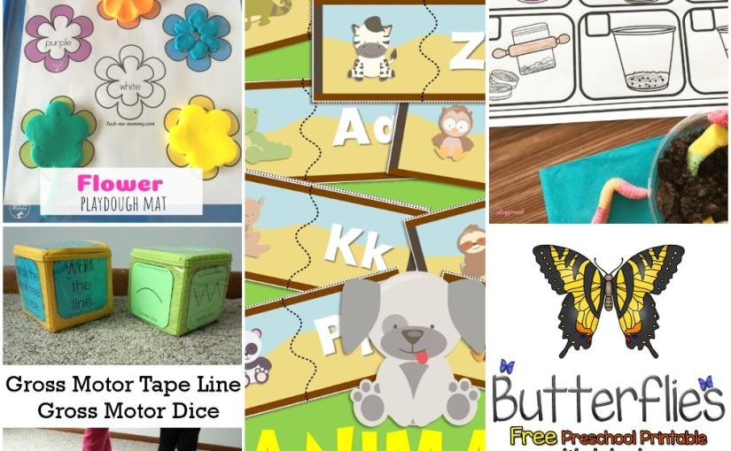 03.14 Printables: Animal Alphabet Puzzle, Flower Playdough, Gross Motor Dice, Dirt and Worm Cup, ButterfliesWorksheet