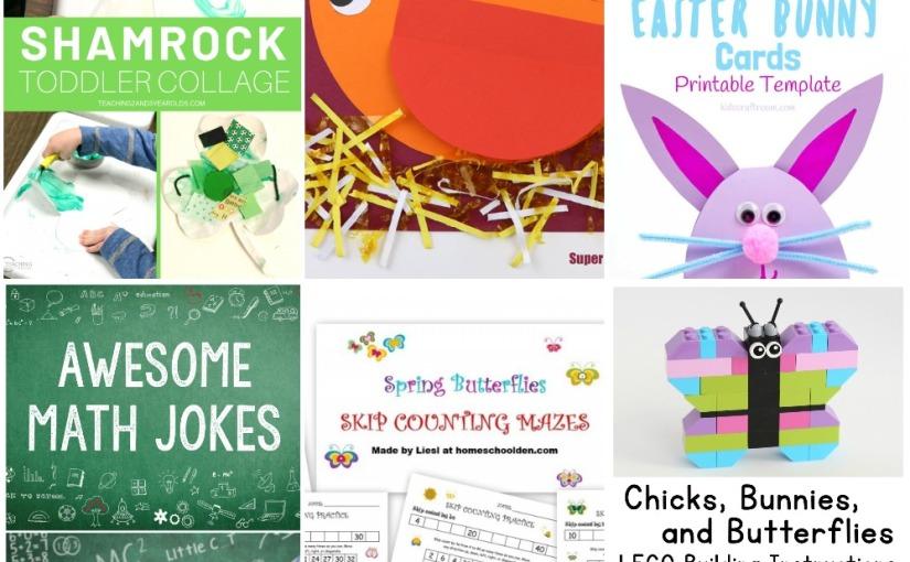 03.16 Shamrock Collage, Easter Bunny Cards, Geometric Chicken, Spring Printables, Spring Lego, MathJokes