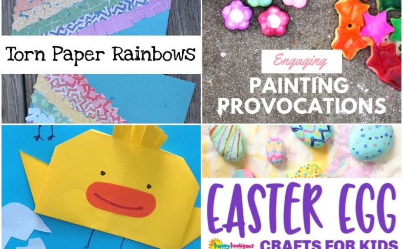03.18 Crafts: Torn Paper Rainbows, Origami Chicken, Painting Provocations, Easter EggList