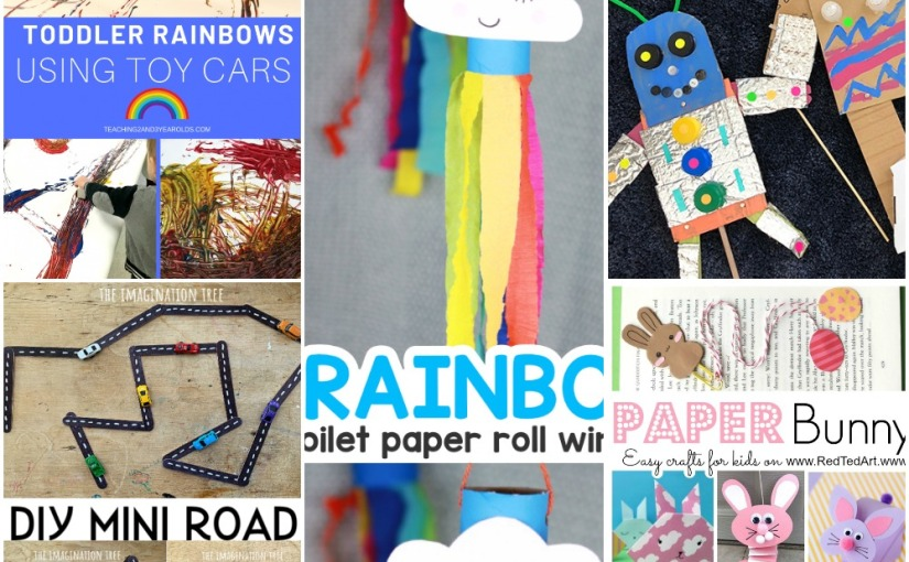 03.19 Crafts: Rainbow with Toy Cars, Mini Road Set, Rainbow Windsock, Cardboard Robot Puppets, Paper Rabbits