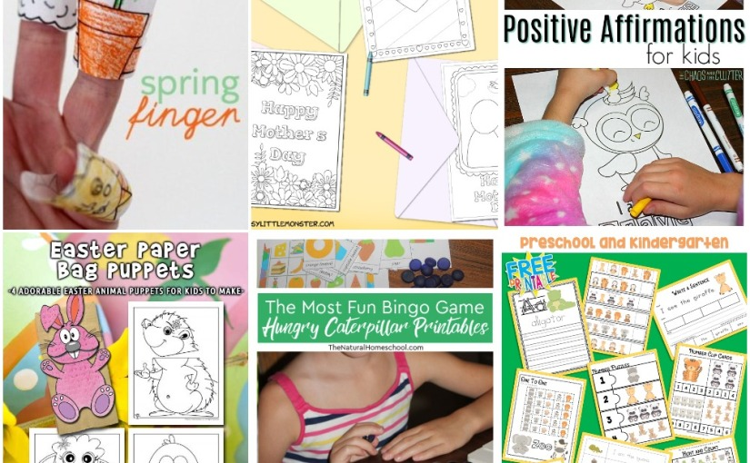 03.19 Printables: Spring Finger and Easter Puppets, Mother's Day Cards, Fun Bingo, Affirmations for Kids, ZooAnimals