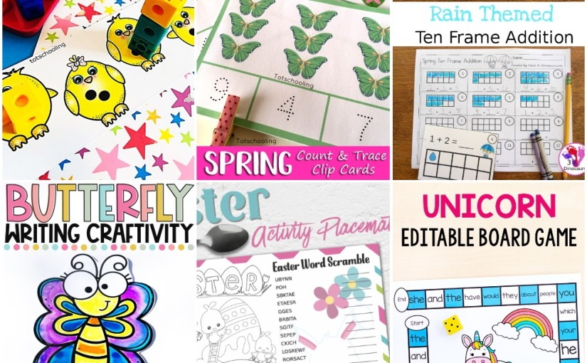 03.19 Printables: Chicks Number, Spring Clip Cards, Raindrop Ten Frame, Easter Word Scramble, Butterfly Writing