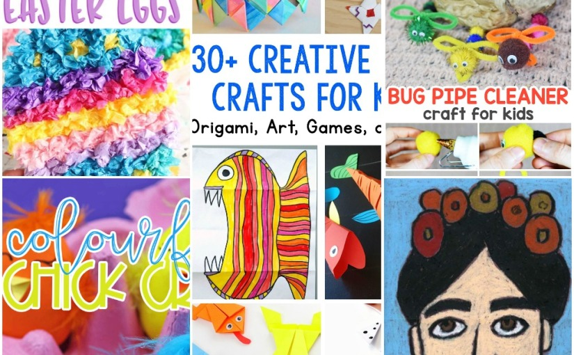 03.20 Crafts: Tissue Paper Easter Egg, Bug Pipe Cleaner, Chick Eggs, Frida Kahlo Drawing, 30 Paper Projects