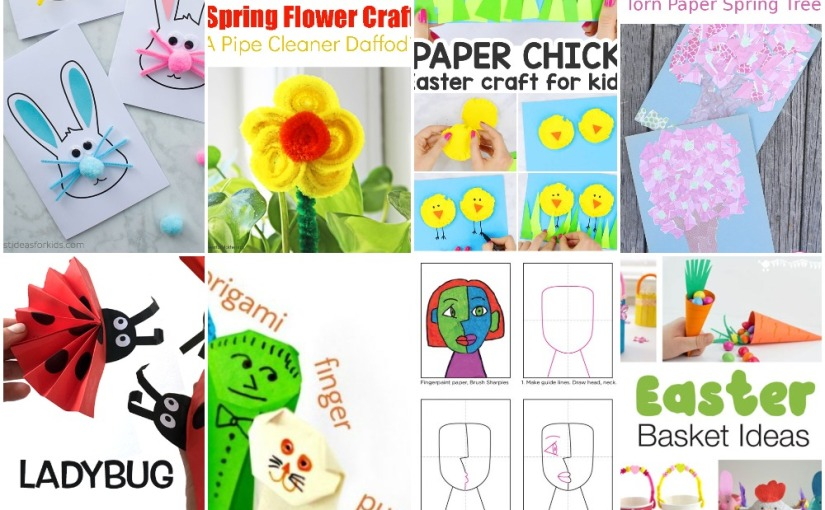 03.21 Crafts: Origami Finger Puppets, Easter Bunny, Daffodil, Easter Chick, Spring Tree, Ladybug, CubismFace